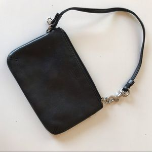 Black Coach wristlet with silver hardware